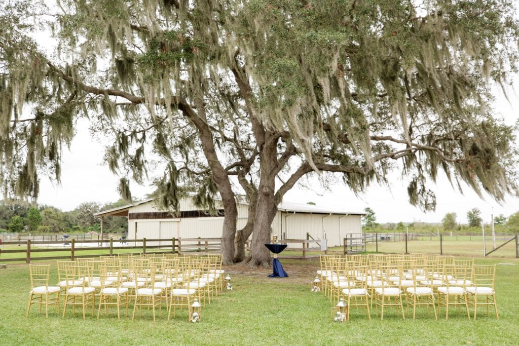 wedding ceremony set up outdoors with gold and white chairs under large oak tree with barn in background